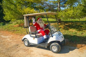 Santa leaving White Squirrel Golf course after playing the course